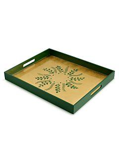 Green/Gold Fern Rectangular Tray