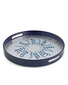 Blue/Silver Fern Round Tray