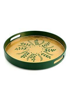 Green/Gold Fern Round Tray